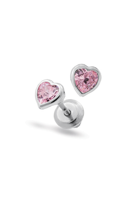 Albert's Sterling Silver Child Pink CZ Heart Earrings ES379 product image