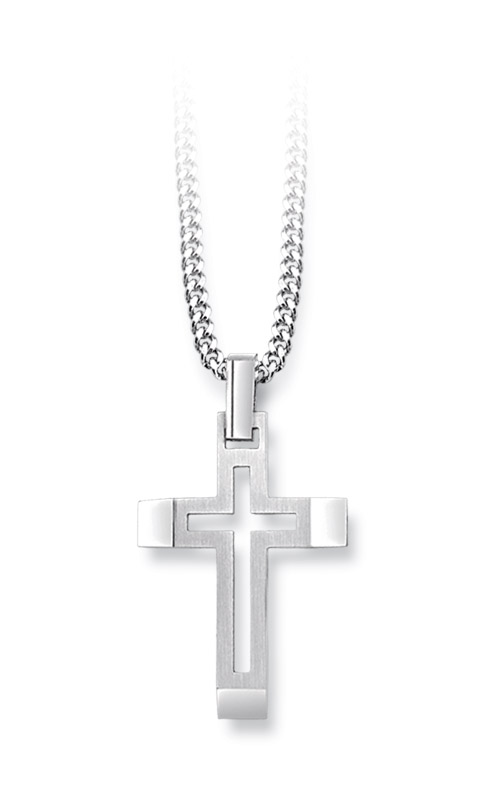 Albert's Steel Cross Pendant with Curb Chain BS8801-SS product image