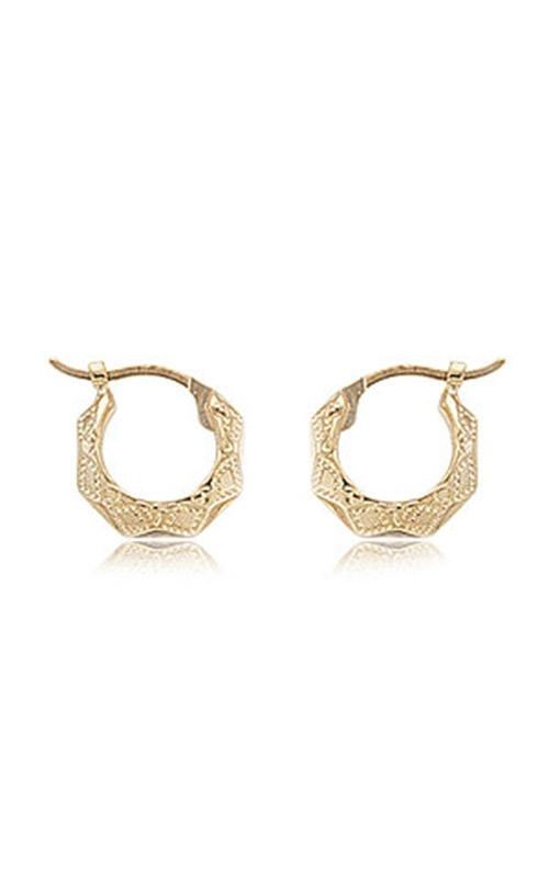 Albert's 14K Yellow Gold Fancy Diamond Cut Shell Hoop Earrings 04-208 product image