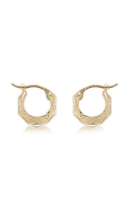 Albert's 14K Yellow Gold Fancy Diamond Cut Shell Hoop Earrings 04-208 product image