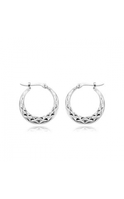 Albert's 14k White Gold Medium Diamond Cut Hoop Earrings 04-004W product image