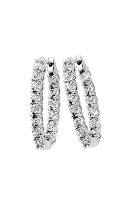 Albert's 14k White Gold 3/4ctw Round Diamond Hoop Earrings ER24323-4WC product image