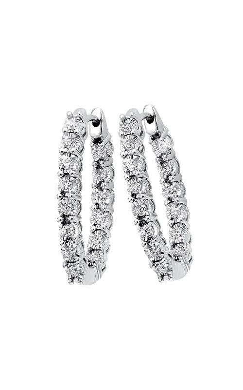 Albert's 14k White Gold 1ctw Round Diamond Hoop Earrings ER24322-4WC product image
