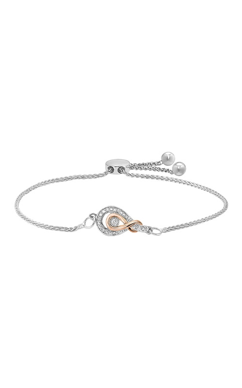 Albert's Sterling Silver and Rose Gold Diamond Bolo Bracelet BC10027-SPGSC product image