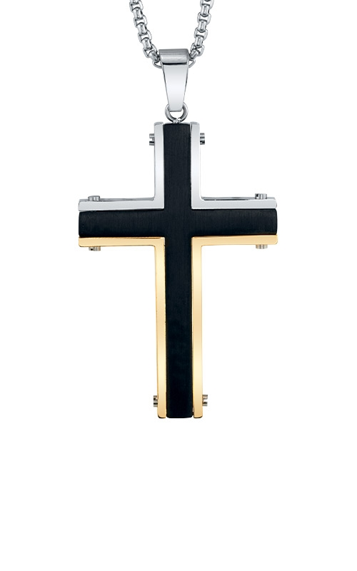 Albert's Stainless Steel Black & Gold Cross Pendant BS8702-SS-MM product image