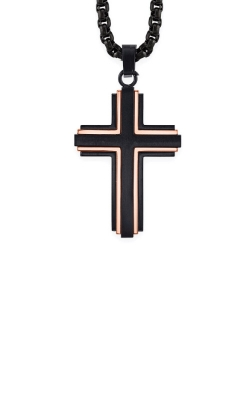 Albert's Stainless Steel Black And Rose IP Cross Necklace BS8802-SS-MU product image