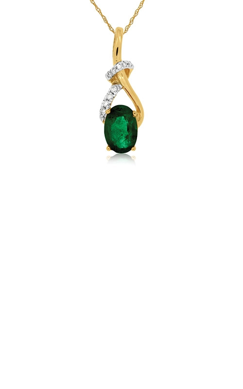 Albert's 14k Yellow Gold .80ctw Emerald and Diamond Necklace C6058EM product image