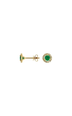 Albert's 14k Yellow Gold .85ctw Emerald And Diamond Stud Earrings C6404E product image