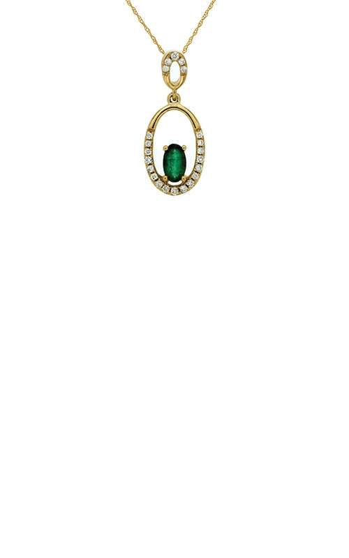 Albert's 14k Yellow Gold .30ctw Emerald and Diamond Necklace C6485E product image