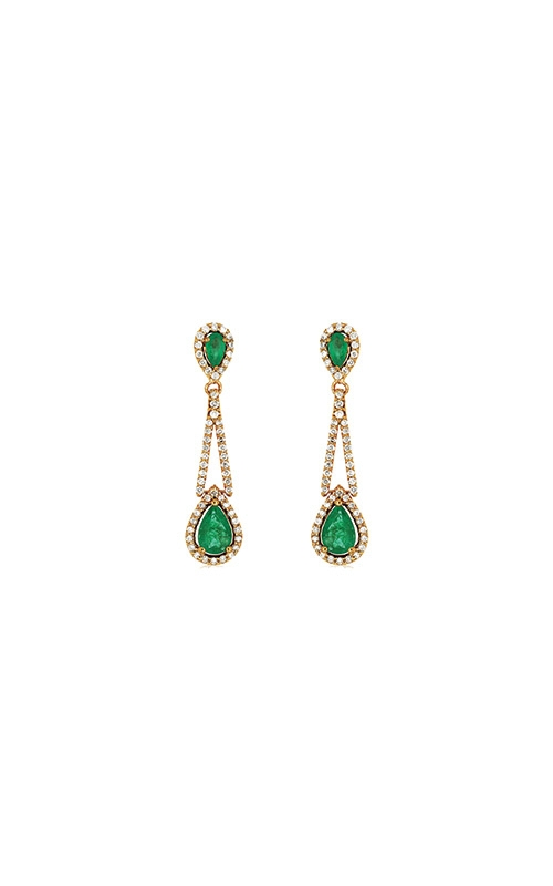 Albert's 14k Yellow Gold 2.46ctw Diamond and Emerald Drop Earrings C7165EM product image