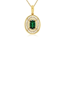Albert's 14k Yellow Gold .51ctw Emerald And Diamond Necklace C7776EM product image