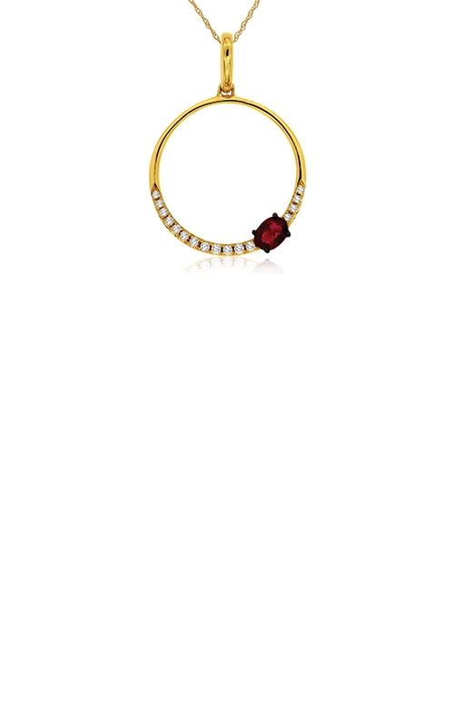 Albert's 14k Yellow Gold .29ctw Ruby and Diamond Circle Necklace C7779RB product image