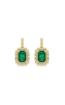 Albert's 14k Yellow Gold 2.41ctw Emerald And Diamond Drop Earrings C7896EM product image