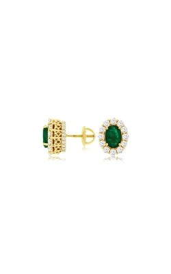 Albert's 14k Yellow Gold 2.40ctw Emerald And Diamond Oval Earrings C8426EM product image
