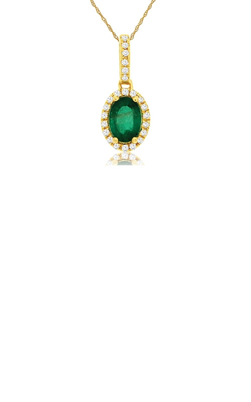 Albert's 14k Yellow Gold .82ctw Emerald and Diamond Necklace C8644EM product image
