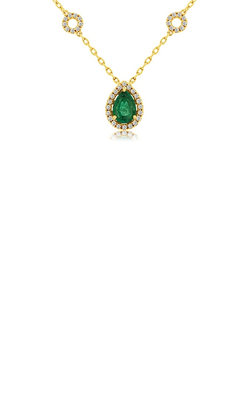 Albert's 14k Yellow Gold .93ctw Emerald and Diamond Necklace C8697EM product image