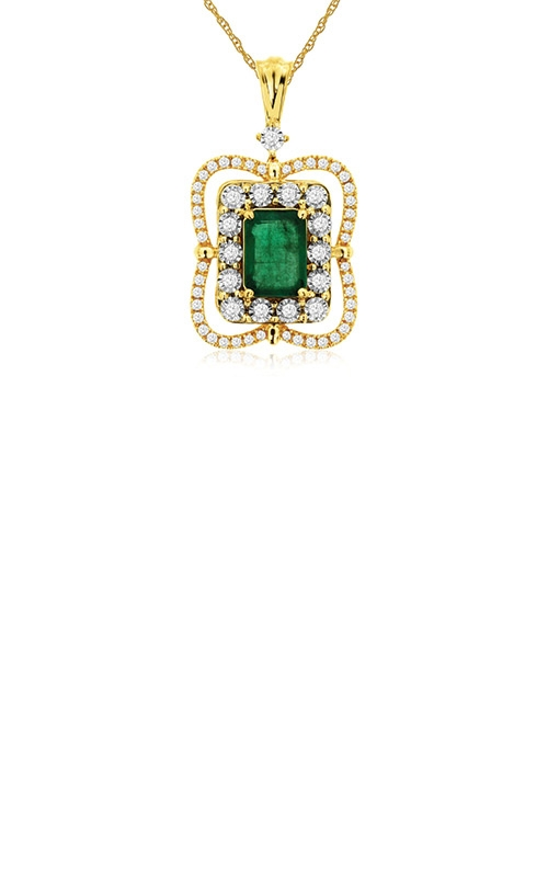 Albert's 14k Yellow Gold 1.25ctw Emerald and Diamond Necklace C9258EM product image