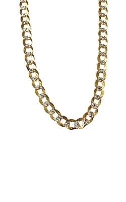 Albert's 14k Two Tone 24in 7mm Pave Curb Chain CCURB01731 product image