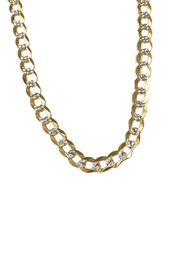 Albert's 14k Two Tone 26in 7mm Pave Curb Chain CCURB01759 product image
