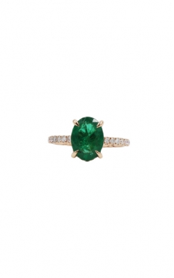 A. Jaffe 18k Rose Gold & 1.90ct Oval Shape Emerald + .30ct Diamond Engagement Ring product image