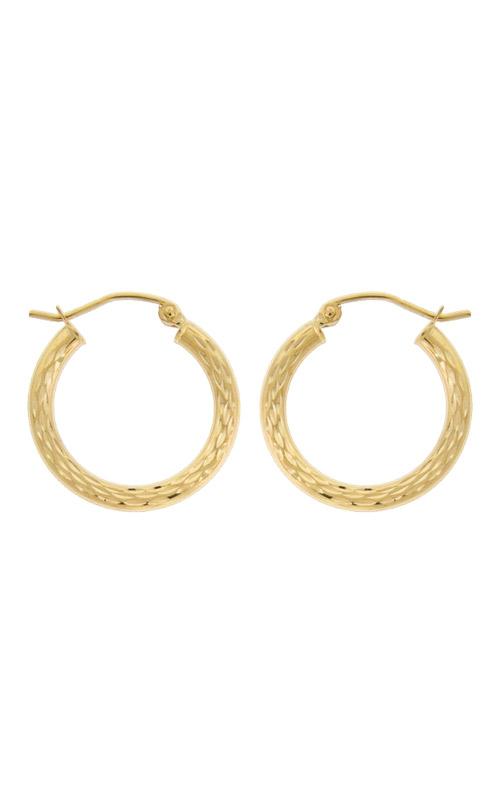Albert's 14k Yellow Gold Flat Diamond Cut Hoop Earrings E1891 product image