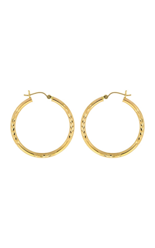 Albert's 14k Yellow Gold Diamond Cut Hoop Earrings E596 product image