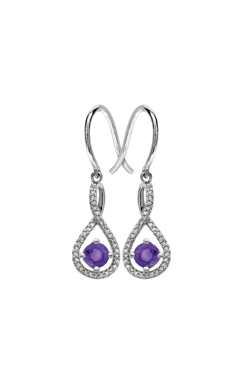 Albert's Sterling Silver Diamond Amethyst Earrings E6232-AM-SS product image
