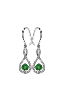 Albert's Sterling Silver Diamond Emerald Earrings E6232-EM-SS product image