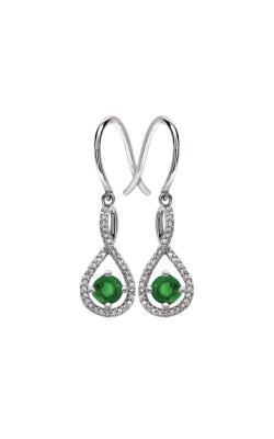 Albert's Sterling Silver Diamond Emerald Earrings E6232-EM-SS product image