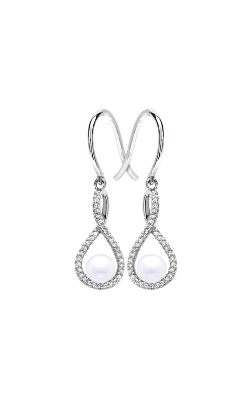 Albert's Sterling Silver Diamond Pearl Earrings E6232-PRL-SS product image