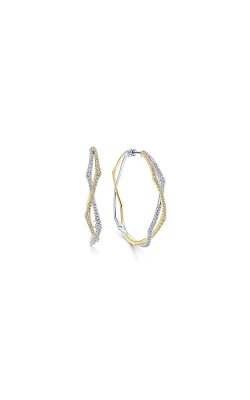 Albert's 14k Two Tone 1.16ctw Diamond Hoop Earrings EG12898M45JJ product image