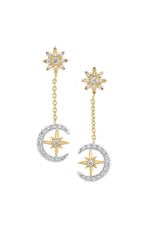 Albert's 14k Two Tone 1/4ctw Moon and Star Drop Earrings ER10237-4WYB product image