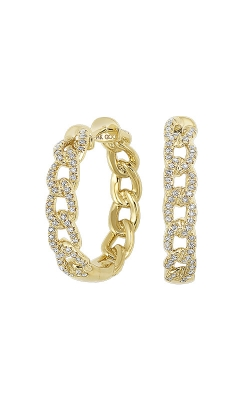 Albert's 14k Yellow Gold 1/2ctw Diamond Curb Hoop Earrings ER10294-4YC product image