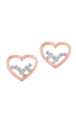 Albert's 14k Rose Gold 1/20ctw Baguette Heart Earrings ER10299-4PCSC product image