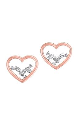 Albert's 14k Rose Gold 1/20ctw Baguette Heart Earrings ER10299-4PCSC product image