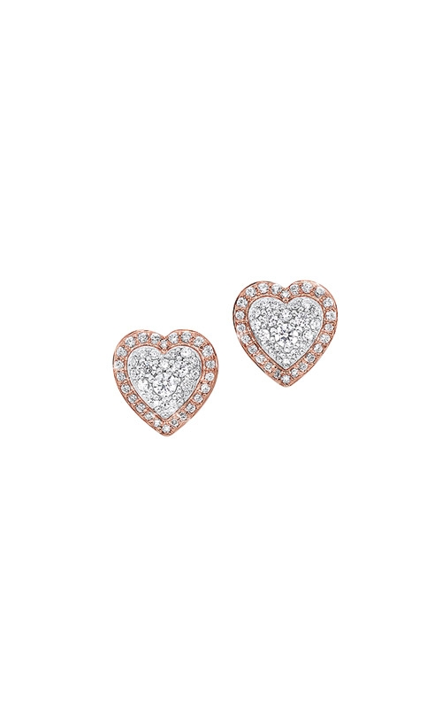 Albert's 14k White and Rose Gold 1/4ctw Diamond Heart Earrings ER10301-4PDSC product image
