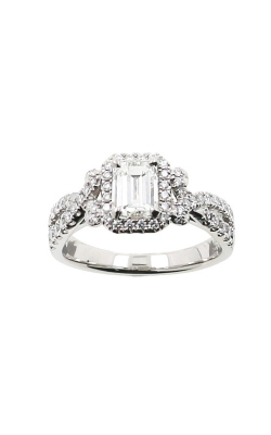 Albert's 14k White Gold 1.17ctw Emerald Cut Halo Engagement Ring ER11002-E072A-S product image