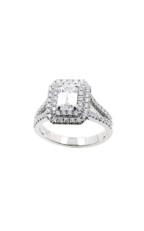 Albert's 14k White Gold 1.50ctw Emerald Halo Engagement Ring ER11028-E082A-S product image
