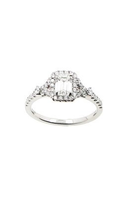 Albert's 14k White Gold .86ctw Emerald Diamond Halo Engagement Ring ER11100-E052A-S product image
