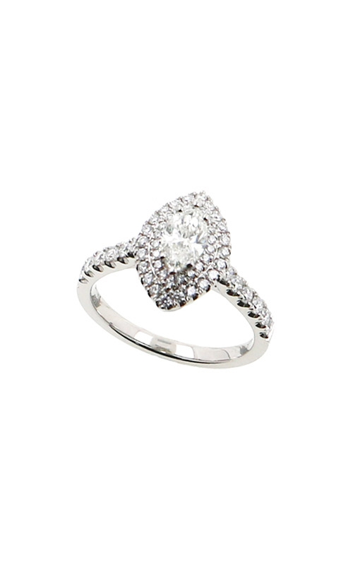 Albert's 14k White Gold 1.11ctw Marquise Halo Engagement Ring ER12046-M052A product image