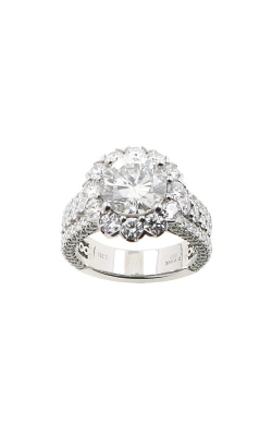 Albert's 14k White Gold 4.74ctw Round Diamond Halo Engagement Ring ER12202-R222A product image