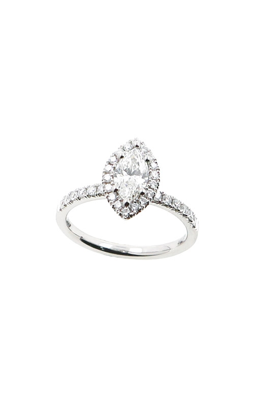 Albert's 14k White Gold .97ctw Marquise Halo Diamond Engagement Ring ER12232-M062A product image
