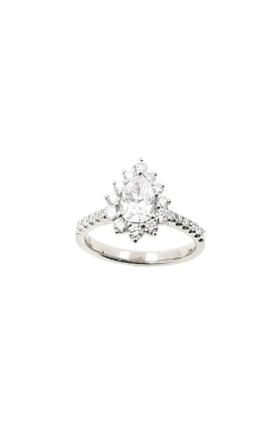Albert's 14k White Gold 1.00ctw Diamond Halo Pear Engagement Ring ER12240-PS052A product image