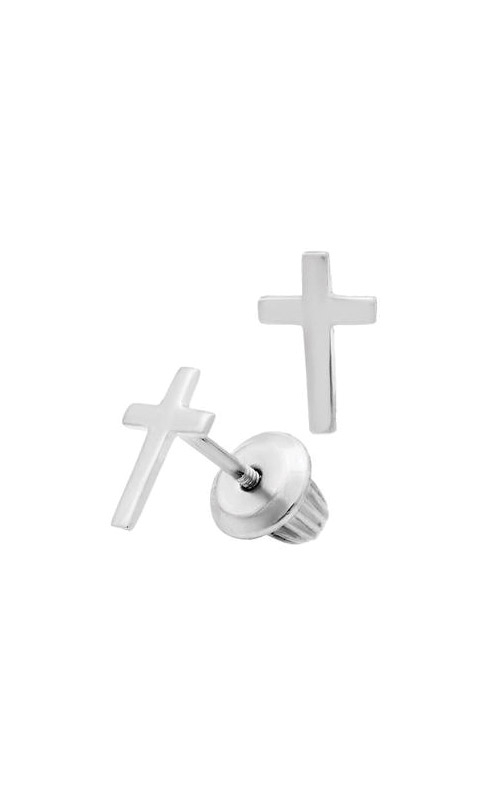 Albert's 14k White Gold Child Cross Stud Earrings GEW206 product image