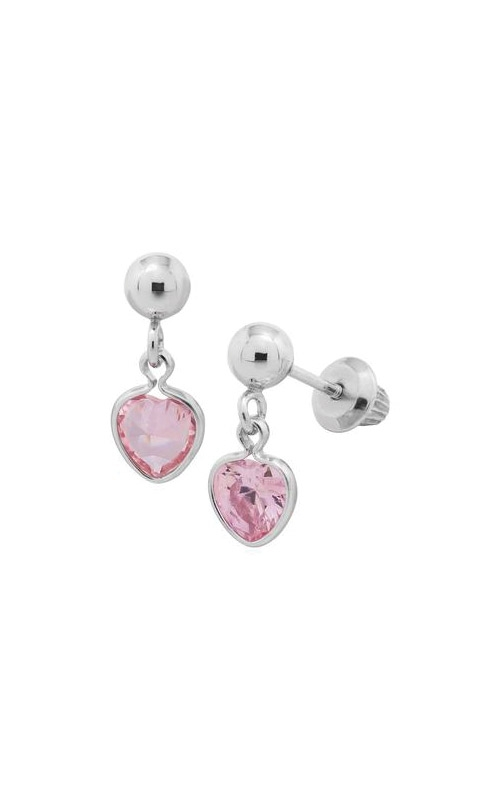 Albert's Sterling Silver Child 4mm Ball Pink Heart Earrings ES256 product image