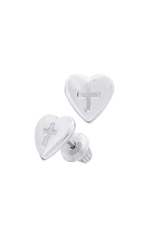 Albert's Sterling Silver Child Cross and Heart Earrings ES286 product image