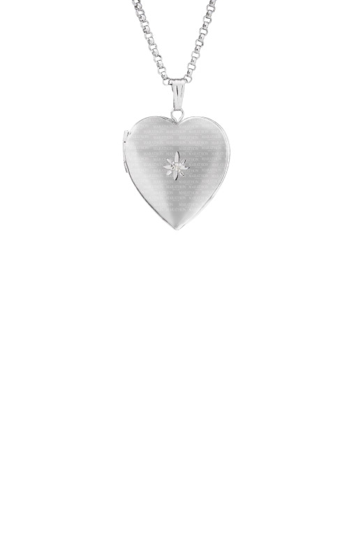 Albert's Sterling Silver Diamond Heart Locket Necklace F1045 product image