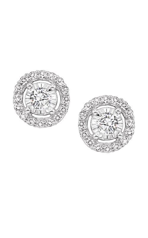 Albert's 14k White Gold 3/4ctw Diamond Halo Earrings FE4153-70 product image