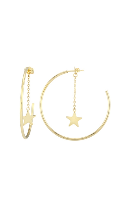Albert's 14k Yellow Gold Hoops with Star Earrings 03/289-STAR product image