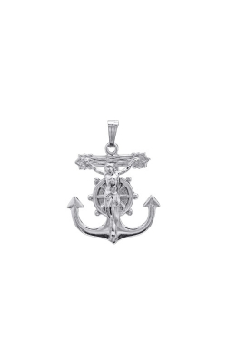 Albert's Sterling Silver Anchor Crucifix Necklace MC114 product image